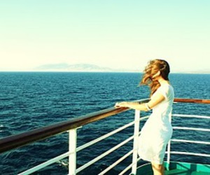 boat, ferry, and girl image