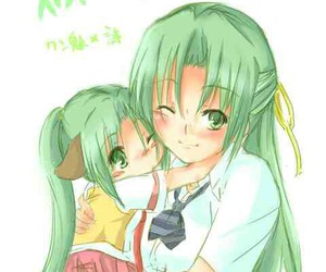 green hair, sisters, and twin sisters image