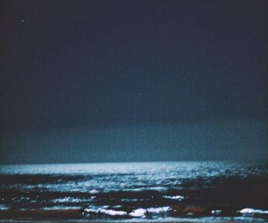 sea, night, and ocean image
