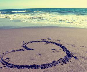 heart, beach, and love image