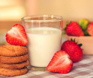 milk, food, and strawberry image