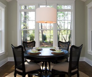 dining room, simple design, and white wall image