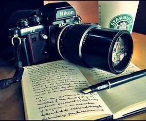 starbucks, camera, and book image