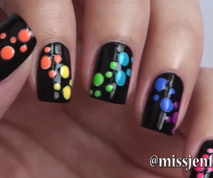 black, nails, and rainbow image