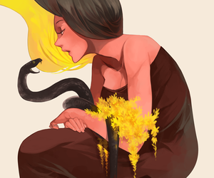 snake, art, and flowers image