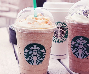 coffee, pink, and starbuks image