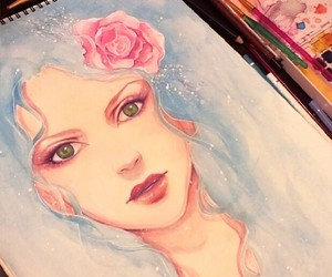 drawing, rose, and blue image
