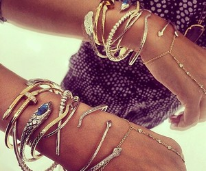 bracelet, jewelry, and gold image