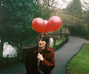 boy, balloons, and red image