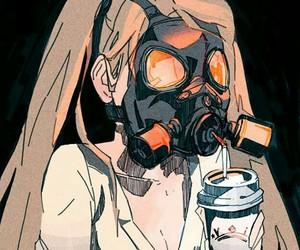 anime, creepy, and gas mask image