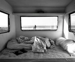beach, bed, and black and white image