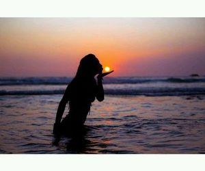 sea, girl, and sunset image