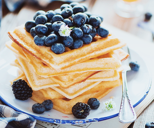 food, blueberry, and waffles image