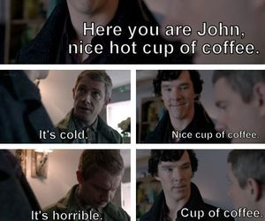 cup of coffee, meme, and sherlock image