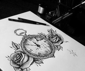 black and white, draw, and clock image