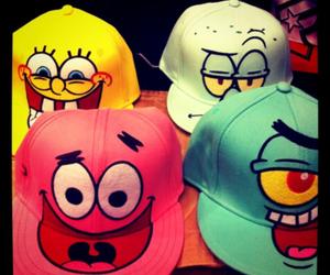spongebob, cap, and patrick image