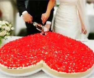 heart, cake, and wedding image
