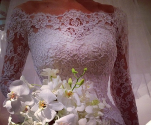 wedding, wedding gown, and white lace image