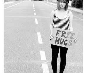 free hugs, girl, and hat image