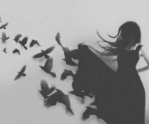 girl, bird, and black image