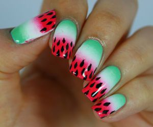 watermelon and gradient nails image