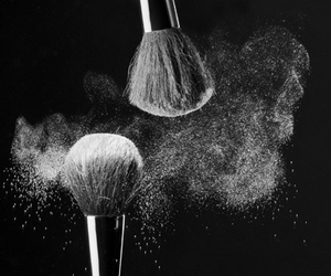 Brushes, makeup, and black and white image