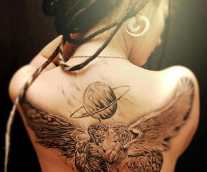 tattoo, dreads, and angel image