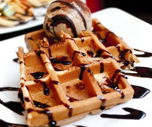 waffles, chocolate, and food image