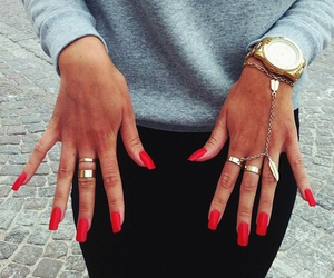 cool, nailpolish, and red image