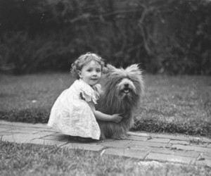 dog, black and white, and child image