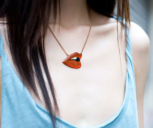 girl, lips, and necklace image