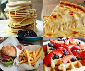 food, pizza, and pancakes image