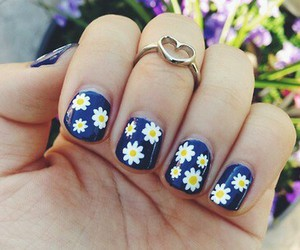 blue, flower, and nail image