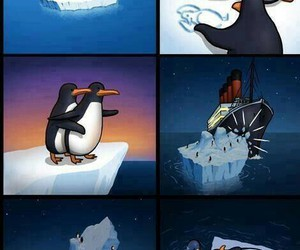 titanic, penguin, and funny image