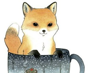 fox, art, and cup image