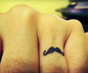 hand, mustache, and tattoo image