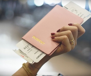 passport, pink, and travel image