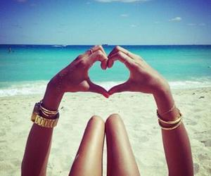 summer, beach, and heart image