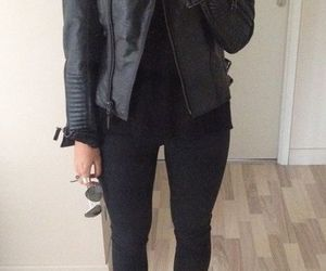 black, leather, and outfit image