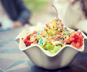 food, fruit, and ice cream image