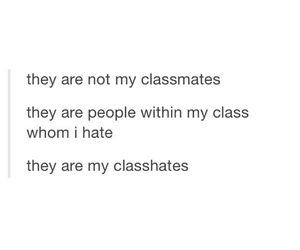 classmates, funny, and hate image
