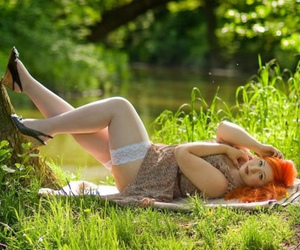 curves, pretty, and red hair image
