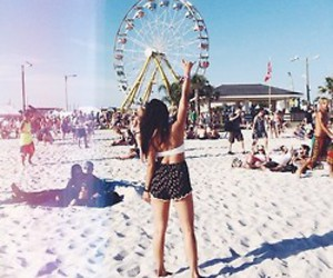 ferris wheel, summer, and young image
