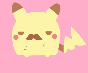 pikachu, kawaii, and mustache image