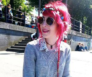 alt girl, red hair, and pastel goth image