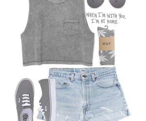 outfit, vans, and huf image
