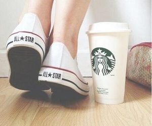 starbucks, converse, and shoes image