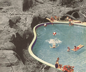 pool, summer, and vintage image