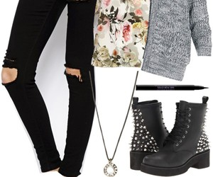 black boots, cardigan, and outfit image