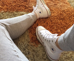 converse, white, and jogger pants image